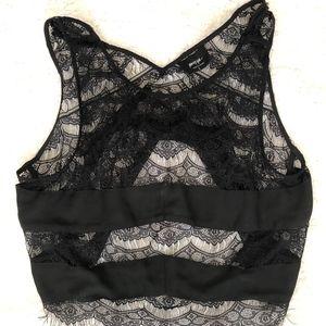 NWOT NASTY GAL Black Lace Crop Top Large